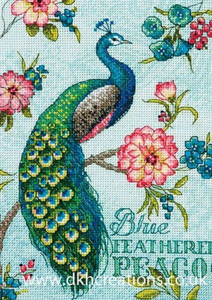 Blue Peacock Cross Stitch Kit